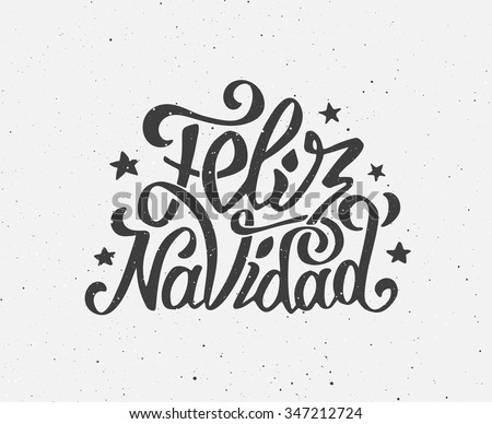 Feliz Navidad text on vintage greeting card design template with typography on white grunge paper texture. Retro letterpress poster for Merry Christmas. Festive vector background - stock vector