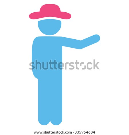 Fellow Show vector icon. Style is bicolor flat symbol, pink and blue colors, rounded angles, white background.