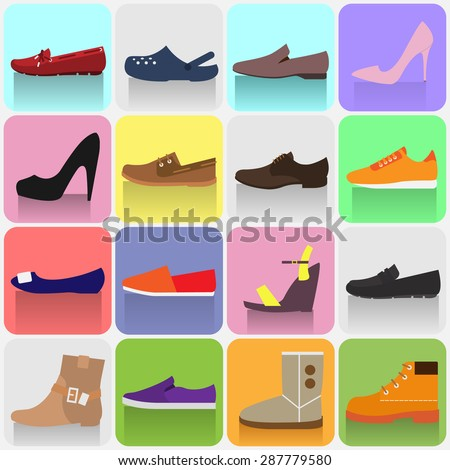 felt boots, army boots, platform shoes, moccasins, ballerina, sneakers, crocs, sandals, ankle, gumshoes, slip-on, shoes. design of vector illustrations. isolated on white background. sign shoe shop - stock vector