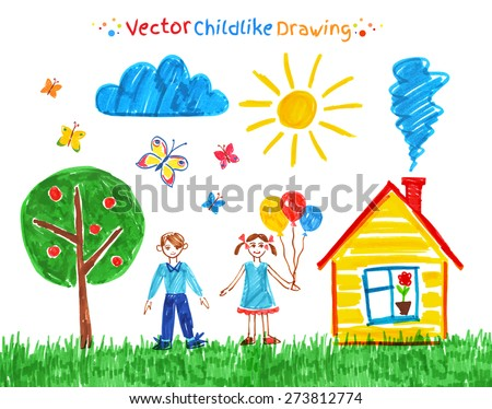 Felt pen child drawings vector set. - stock vector