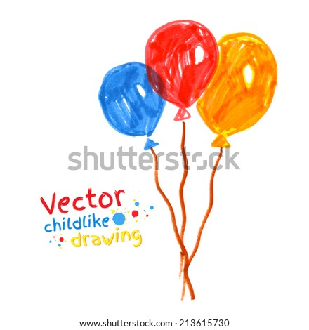 Felt pen childlike drawing of. Vector illustration. isolated. - stock vector