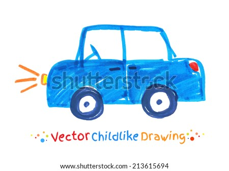 Felt pen childlike drawing of vehicle. Vector illustration. isolated. - stock vector