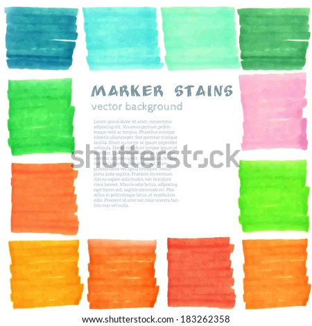 Felt pen stains. Vector background. - stock vector