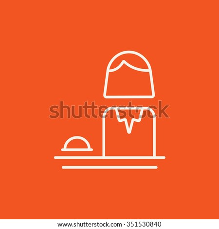 Femal receptionist line icon for web, mobile and infographics. Vector white icon isolated on red background. - stock vector