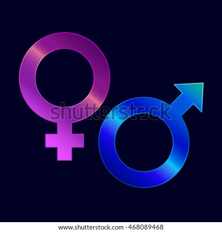 Female and male gender icons on dark background. Mars and Venus. Signs for sexuality