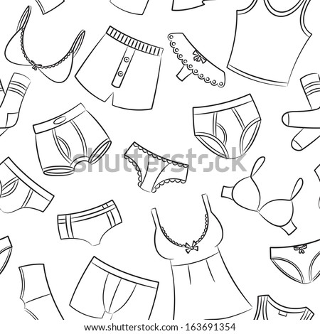 Female And Male Underwear Doodle Seamless Pattern