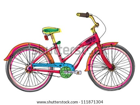 female bicycle - cartoon - stock vector