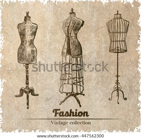 Female body vintage mannequin set.  - stock vector