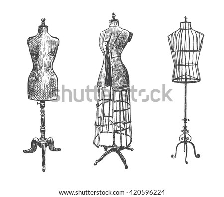 Female body vintage mannequin set. Tailor's dummy for female body. Retro Illustration in ancient engraving style - stock vector