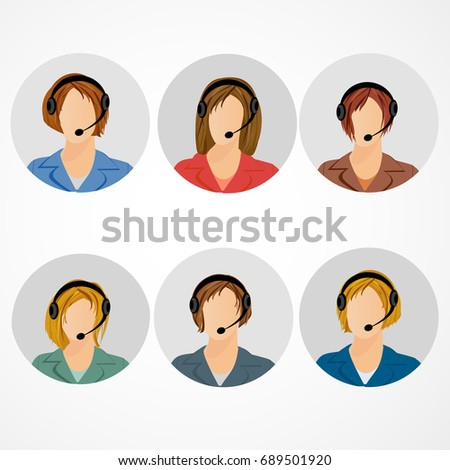 Female call center operator icon set - woman in headphones avatar collection. Customer support, client services, phone assistance.