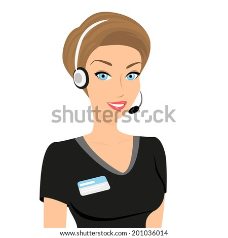 Female call centre operator with headset and smiling. - stock vector