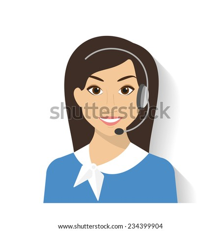 Female call centre operator with headset. Flat moderm style - stock vector
