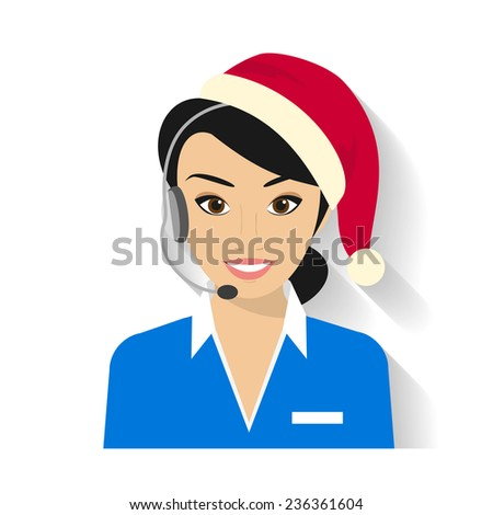 Female call centre operator with headset wearing Santas hat. Flat moderm style - stock vector