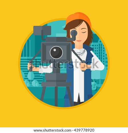 Female cameraman looking through movie camera on a tripod. Young woman with professional video camera shooting in the city. Vector flat design illustration in the circle isolated on background. - stock vector