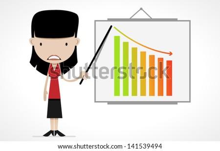 female cartoon office worker - stock vector