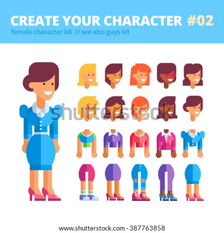 Female character creation kit. Set of replaceable parts for creating your unique feminine character: 10 heads, 5 bodies, 5 couples of legs and 3 tones of skin. See also guys kit. Vector illustration.  - stock vector