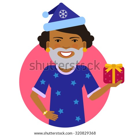 Female character, portrait of smiling African American woman wearing Santa costume, holding gift box