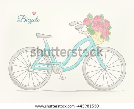 Female city bike with flowers basket. Blue cruiser bicycle on beige background. Detailed vector drawing. - stock vector