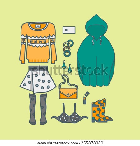 Female clothing things fashion - skirt, sweater, lipstick, purse, boots - stock vector