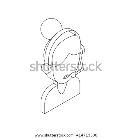 Female customer support operator with headset icon - stock vector