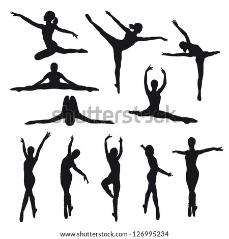 Female dancers vector silhouettes on white background. Fully editable. - stock vector