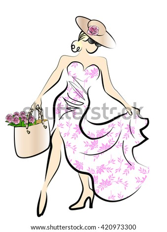 Female displaying spring/summer dress while carrying roses in her beach bag