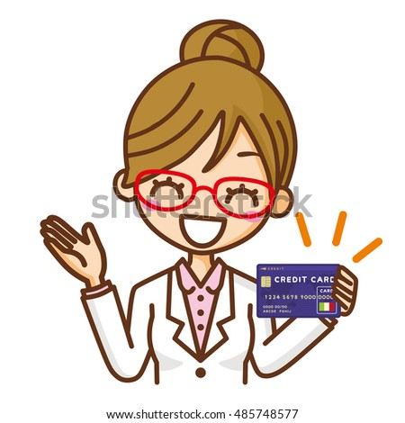 Female doctor and a credit card.