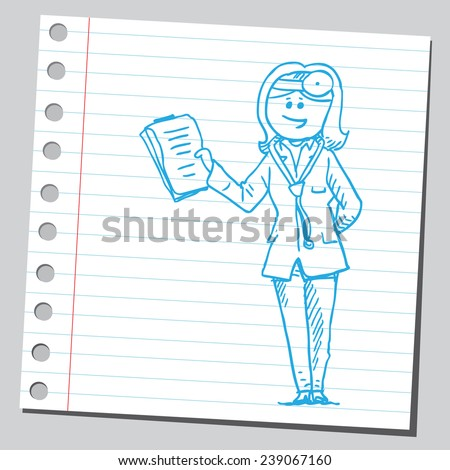 Female doctor with medical chart clipboard - stock vector
