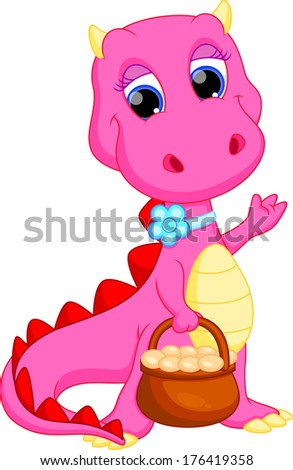 Female dragon with a basket of eggs - stock vector
