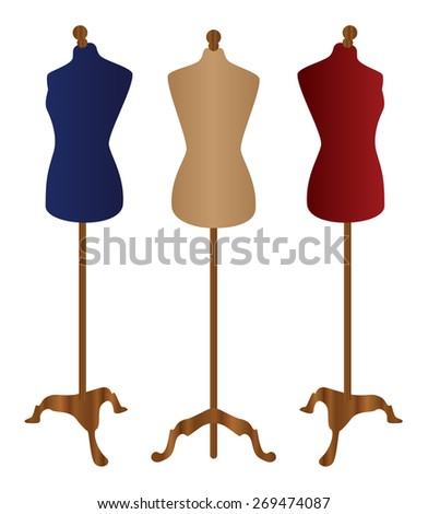 Female dummy, mannequin Vector, blue, red, Cream, Sewing mannequin