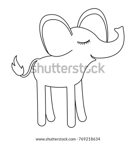 female elephant cartoon with closed eyes expression in monochrome silhouette
