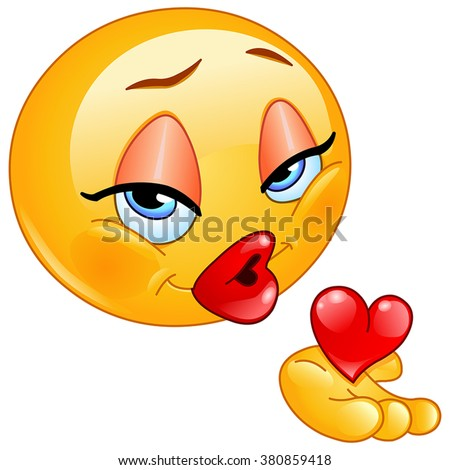Female emoticon blowing a kiss