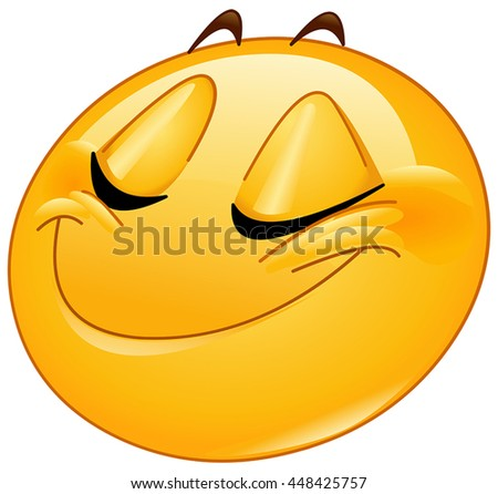 Female emoticon smiling with closed eyes