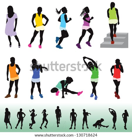 female exercising silhouettes. The bottom figures are the same in black and white. Shown for visual reference. - stock vector