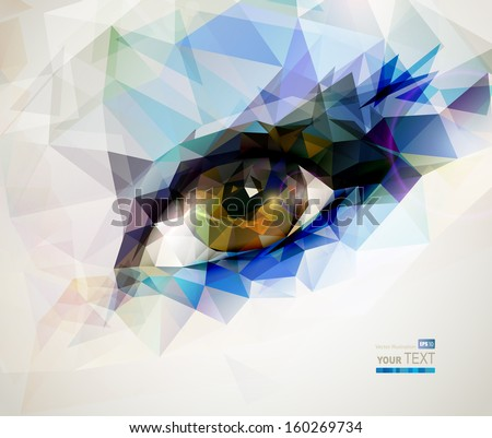 female eye created from polygons  - stock vector