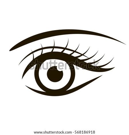Open Female Eye Monochrome Illustration Raster Stock
