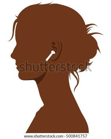 Female Face Dark Brown With Headphone