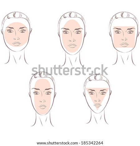 Female Face Types - stock vector