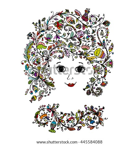 Female face with floral hairstyle for your design - stock vector