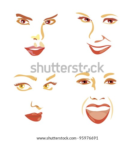 female faces made of few colored stroke lines