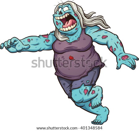 Female fat cartoon zombie running. Vector clip art illustration with simple gradients. All in a single layer. - stock vector