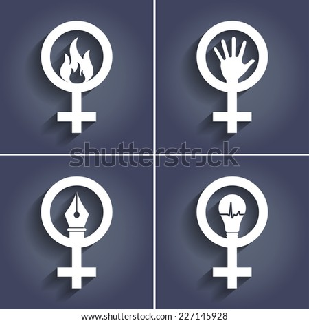 Female Gender Signs Abstract with Shadows - stock vector