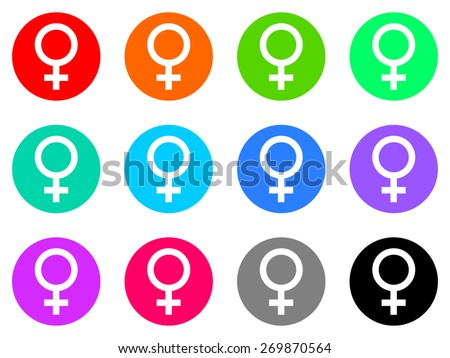female gender vector icons set - stock vector