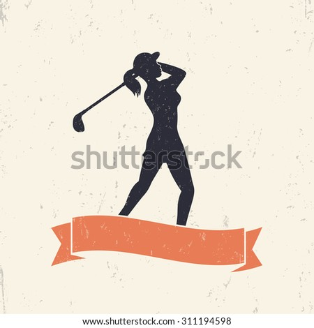 female golf player swinging golf club, vector illustration, eps10, easy to edit - stock vector