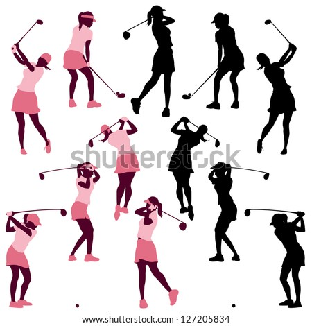 female golf poses in silhouettes - stock vector