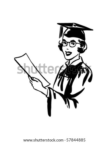 Female Grad - Retro Clip Art