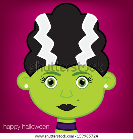 Female green zombie monster Halloween card in vector format. - stock vector