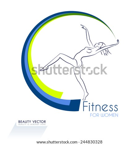 Female gymnast with symbolic gymnastic ribbon silhouette vector illustration. Fitness & Beauty sign, identity template for fitness club, beauty industry. Sport, beauty, freedom concept. Sample text. - stock vector