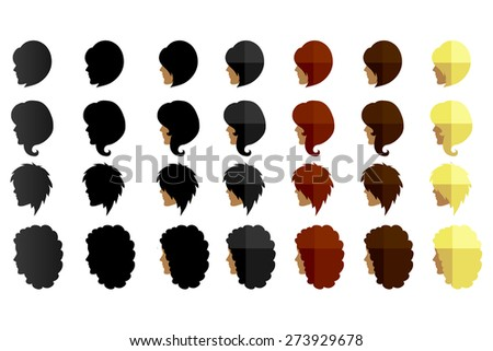 Female hairstyles in profile - set of icons or logo - stock vector