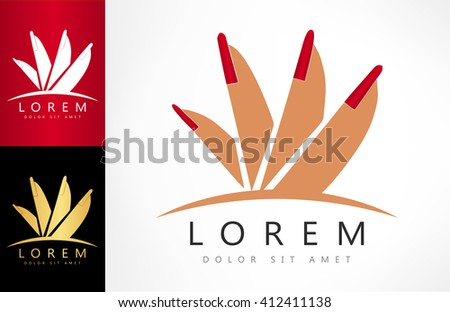 female hand and red manicure logo. vector illustration. - stock vector